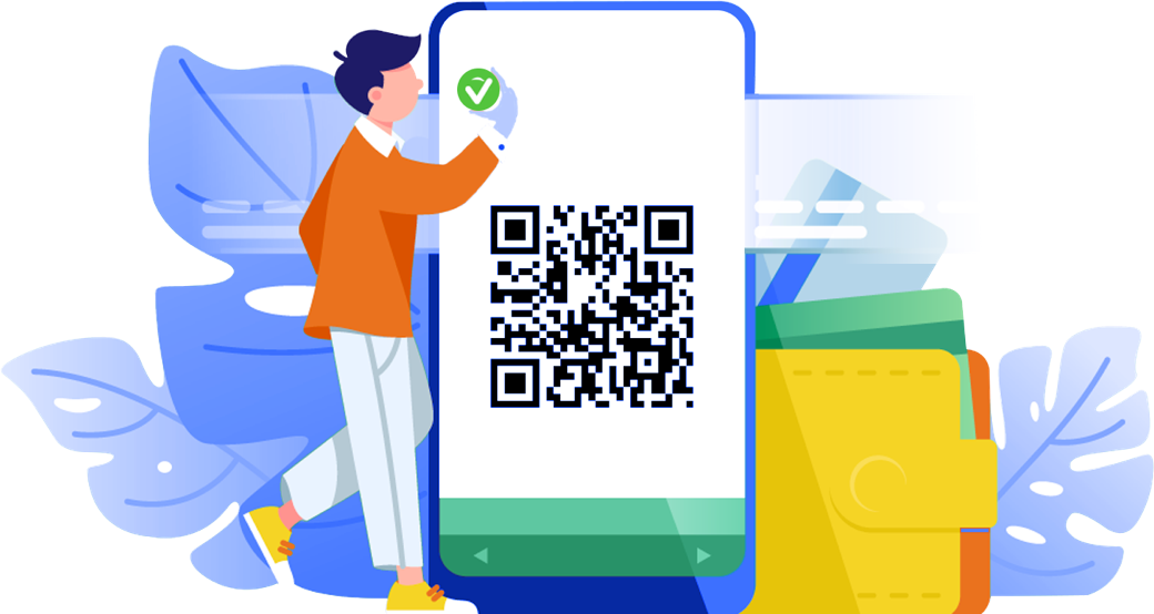 Person reading QR Code